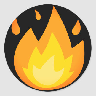 Burning Fire Emoji Classic Round Sticker