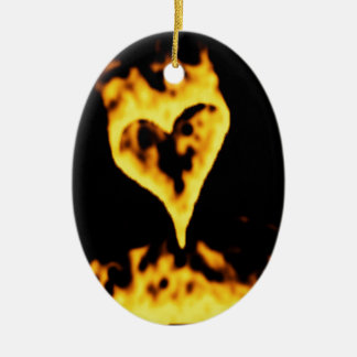 Burning Fire Heart Ceramic Oval Ornament