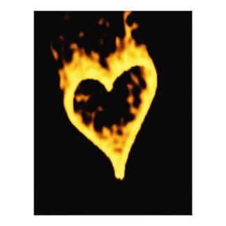 Burning Fire Heart Letterhead Design