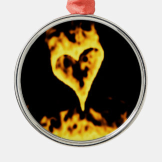 Burning Fire Heart Silver-Colored Round Ornament