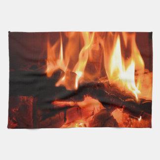Burning Fireplace Flames I Kitchen Towel