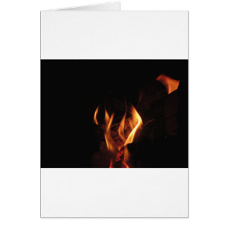 Burning fireplace with fire flames card