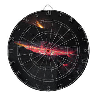 Burning fireplace with fire flames on black dartboard