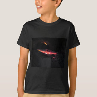 Burning fireplace with fire flames on black T-Shirt