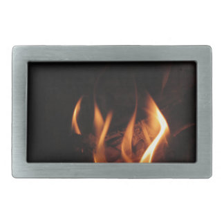 Burning fireplace with fire flames rectangular belt buckle