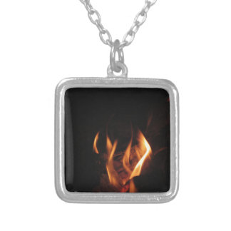 Burning fireplace with fire flames silver plated necklace