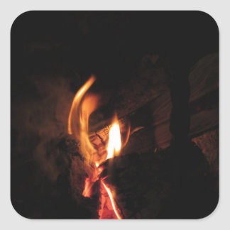 Burning fireplace with fire flames square sticker