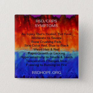 Burning Flames & Freezing Ice Storms RSD SYMPTOMS 2 Inch Square Button