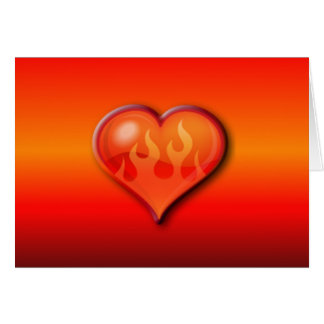 Burning Flaming Heart Greeting Card