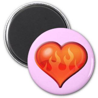 Burning Flaming Heart Fridge Magnets
