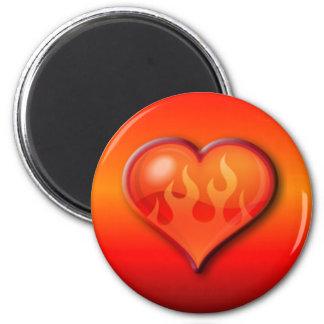 Burning Flaming Heart Fridge Magnet