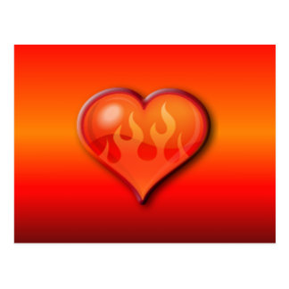 Burning Flaming Heart Postcard