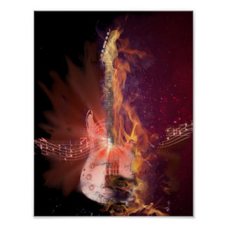 Burning Guitar and Musical Notes Picture Poster