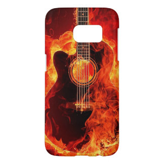Burning Guitar Flames Fire Music Orange Black Samsung Galaxy S7 Case
