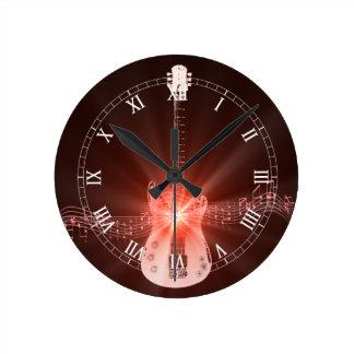 Burning Guitar Round Clock
