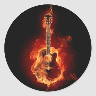 Burning Guitar Round Sticker