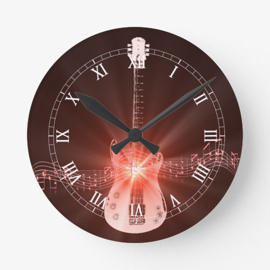 Burning Guitar Wall Clocks