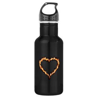 Burning Heart (Black Background) 18oz Water Bottle