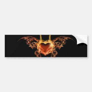 Burning Heart Bumper Stickers