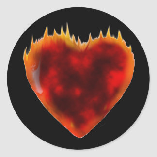 Burning heart classic round sticker