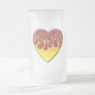 Burning Heart Frosted Glass Mug