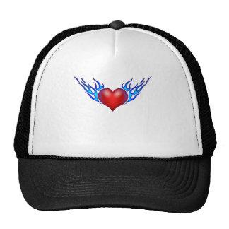 Burning heart love you trucker hats