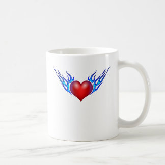 Burning heart love you coffee mug