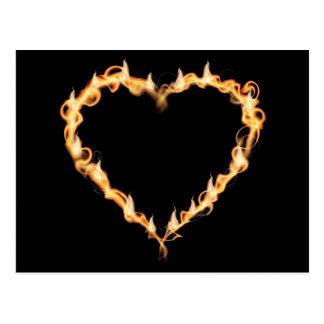 Burning Heart of Fire Black Dark Love Graphics Postcard