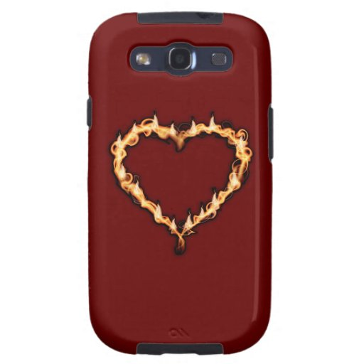 Burning Heart  (Red Background) Samsung Galaxy S3 Cases