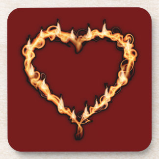 Burning Heart (Red Background) Coasters