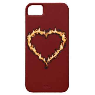 Burning Heart  (Red Background) iPhone 5 Cases