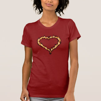 Burning Heart  (Red Background) T Shirts