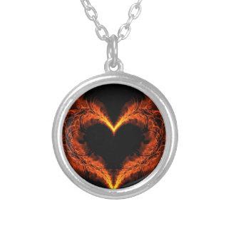 Burning heart round pendant necklace