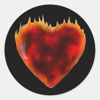 Burning heart round sticker