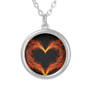 Burning heart silver plated necklace