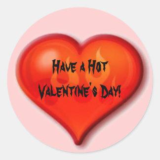 Burning Heart Round Stickers