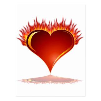 Burning Heart Valentines day Postcard