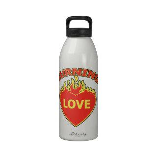 Burning heart reusable water bottles
