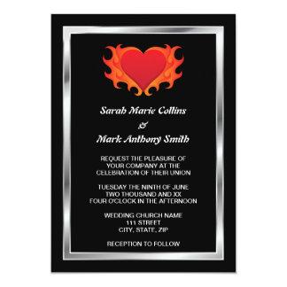 "Burning heart with chrome border biker wedding 5"" x 7"" invitation card"