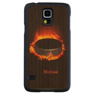 Burning Hockey Puck Carved Cherry Galaxy S5 Case