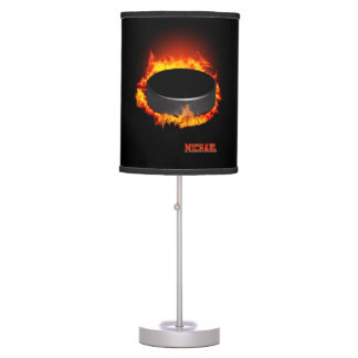 Burning Hockey Puck Table lamp