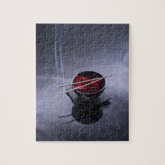 Burning incense on top of bowl of petals jigsaw puzzle