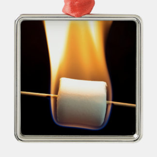 Burning Marshmallow Silver-Colored Square Ornament