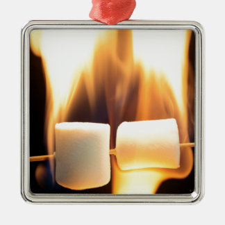 Burning Marshmallows Silver-Colored Square Ornament