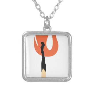 Burning Matchstick Silver Plated Necklace