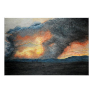 burning mountains (watercolor) poster
