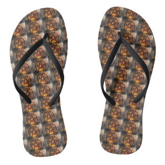 Burning Pentagram Pattern Flip Flops