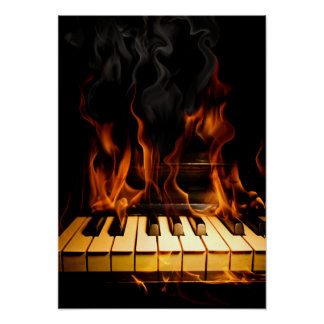Burning Piano Poster
