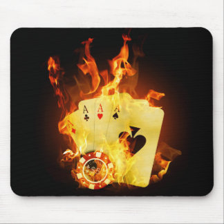 Burning Poker Cards Mouse Pad