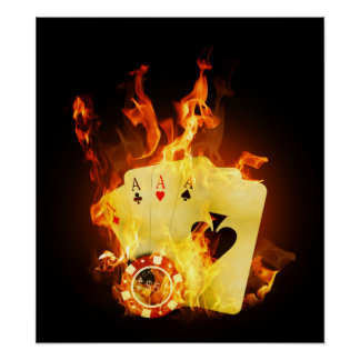 Burning Poker Cards Poster
